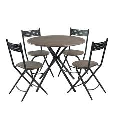 Amazon.com - HOMY CASA 5 Pieces Dining Table Set, Industrial Round ... Paris 80 Cm Round Ding Table 4 Chairs In White Whitegrey Bellevue Pub D8044519 Cramco Counter Height Seater Oslo Chair Set Temple Webster Ding Table Chairs Easyhomeworld And Aamerica Port Townsend 5 Pc Oak Glass And With Fabric Seats Amazoncom Coavas 5pcs Brown Kitchen Rectangle Vfuhrerisch Black Wood Red Small Cheap Find 8 Solid Davenport Ivory Dav010