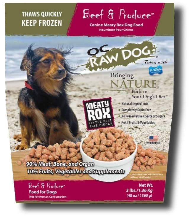 OC Raw Frozen Meaty Rox Beef & Produce Dog Food - 3 lbs.