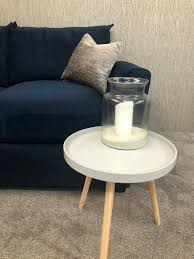 scandi style side table grey with solid pine legs
