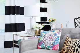 Black And White Striped Curtains In An Open Concept Living Dining Space With Chinoiserie Decor
