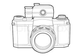 Vector Outline Camera On White Background