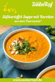 süßkartoffel suppe mit karotten und gerösteten mandeln