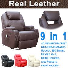 Ebay Uk China Cabinets by Cinemo Real Leather Recliner Chair Rocking Massage Swivel Heated