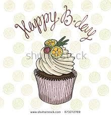 Hand drawn vector cupcake drawing greeting card