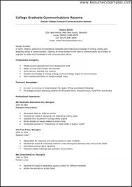 Resume Templates Examples College Graduate Resumes Of Template