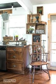 Kitchen Crate Stacked Vintage Crates And A Reclaimed Wood Shelf For Rustic Phone Station