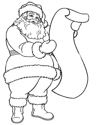 Coloring Pages Of Santa Reading The Long Letter Christmas