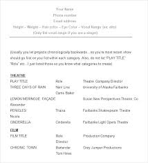 Sample Acting Resume Template Child No Experience