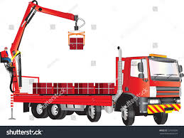 Red Truck Operator On Crane Unloading Stock Vector (Royalty Free ...