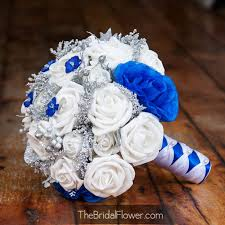 Royal Blue And Silver Accented Winter Wedding Bouquet