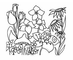 Spring Garden Coloring Pages Cooloring With Regard To Flower Regarding Invigorate In
