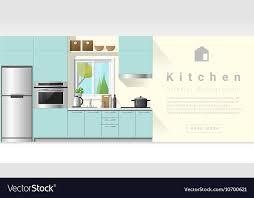 Interior Design Modern Kitchen Background 5 Stock Vektor Interior Design Modern Kitchen Background 6 Vector Image