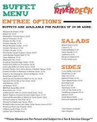 banquet menu riverdeck