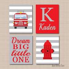 100 Fire Truck Wall Art Amazoncom Kids Room Decor Red Gray