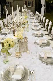 Dining Tablescape From An Elegant White Outdoor Dinner Party Via Karas Ideas