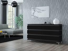 zebra kommode sideboard mit füßen matt weiß schwarz sonoma 160 cm