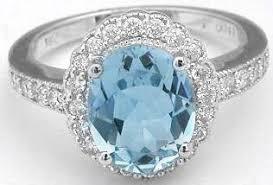 Aquamarine and Diamond Ring Free Shipping MyJewelrySource GR 1065