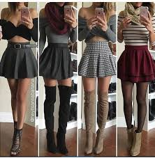 Skirt Skater Mini High Waisted Burgundy Black Grey Plaid