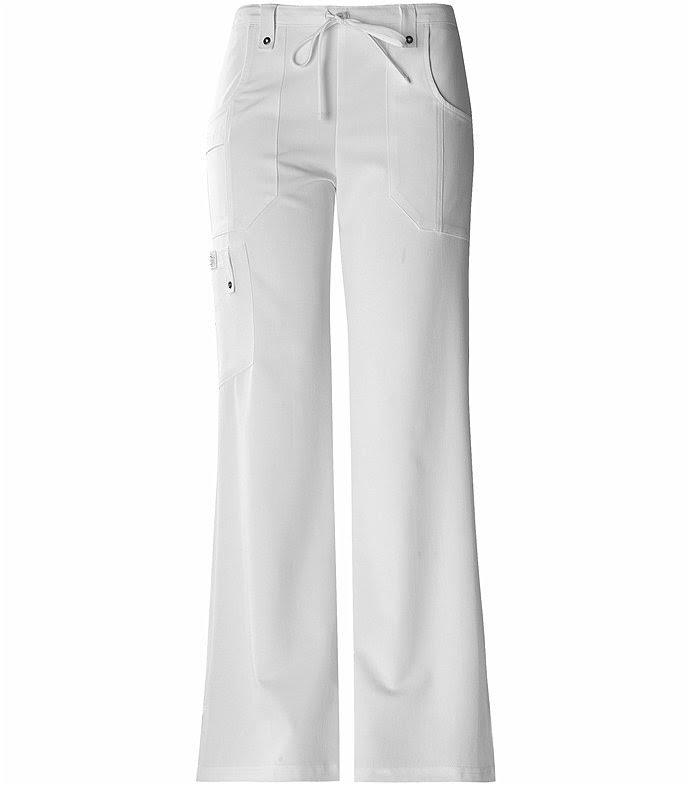 Dickies Xtreme Stretch Drawstring Flare Scrubs Pant - White, X-Small