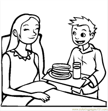 Breakfast In Bed Coloring Page