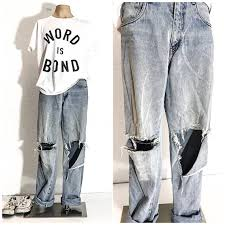 90s Clothing VINTAGE RIPPED JEANS Men Destroyed