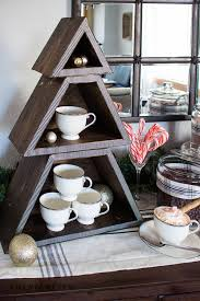 Create A Super Festive Holiday Cocoa Bar With This DIY Stackable Christmas Tree Shelf