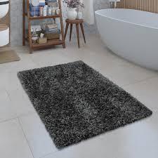 moderne badematte badezimmer teppich shaggy kuschelig weich einfarbig grau grösse 40x55 cm