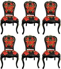 pompöös by casa padrino luxus barock esszimmerstühle roses schwarz rot gold esszimmer set 6 pompööse barock stühle designed by harald