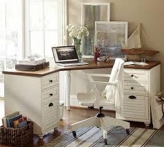 Pottery barn office desk whitney corner set almond white o capable