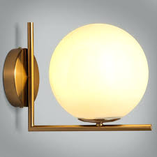 wall sconces indoor simple white globe glass shade single light