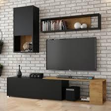 selsey wohnzimmer set caiara moderne wohnwand in schwarz eiche 3 tlg mit hängeschrank wandregal und tv board