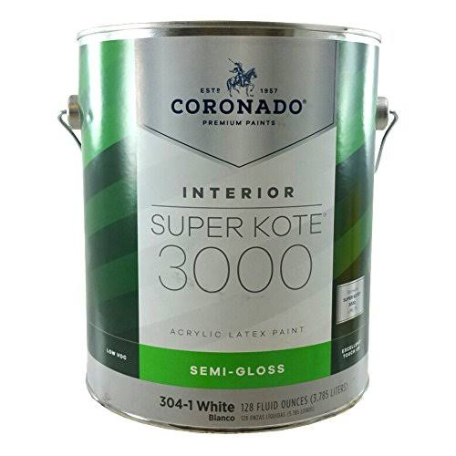 Coronado Gallon Semi-Gloss White Super Kote 3000 Acrylic Latex Paint