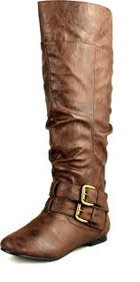 nature breeze womens vickie 20 flat faux leather slouch knee high