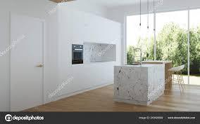 Modern White Kitchen Interior 3d Rendering Stockfoto Und Modern House Interior Interior With White Walls And White Kitchen 3d Rendering 243426582