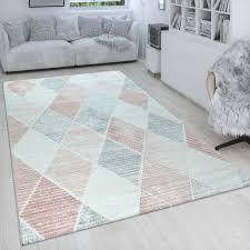 kurzflor teppich rauten design pastellfarben rosa
