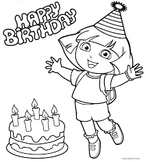 Birthday Coloring Pages Free Printable Kids Dora And Friends Pdf Nick Jr The Explorer Full