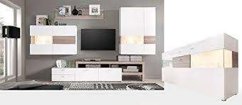 wohnzimmer monty 351 542 x207x47 cm weiß hochglanz eiche trüffel sideboard schrankwand wohnzimmerschrank vitrine wandschrank wandboard tv board