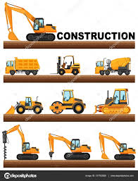 Different Types Of Construction Trucks On The Ground — Stock Vector ...