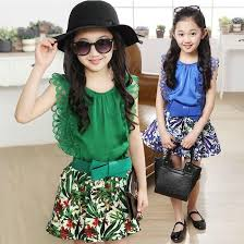 Girls Sets Summer Korean Kids Clothes Children Clothing Lace Sleeveless T Shirts Shorts Skirts Kid Bow Flowers Printed Skirt Outfits Baby Gils
