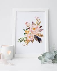Shabby Chic Wall Decor Floral Nursery Print Watercolor Flower Printable Women Gift Art Rustic Home Boho