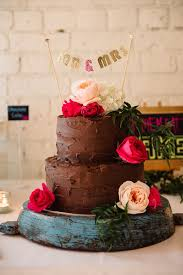 Bohemian Chocolate Frosted Wedding Cake