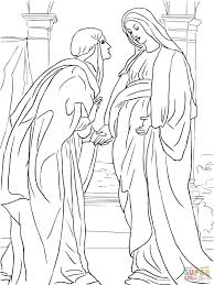 Visitation Of Mary To Elizabeth Coloring Page