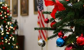 Christmas Decorations In The US Embassy London Lobby