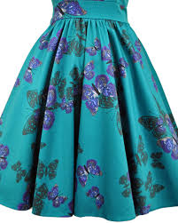 rkl6 lady vintage hepburn teal green butterfly 50s swing retro