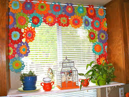 Checkered Flag Window Curtains by 8 Free Crochet Curtain Patterns