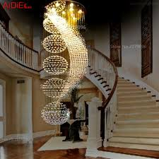 Crystal Chandeliers Circular Spiral Staircase Duplex Villa Long Lamp Living Room Modern Minimalist Restaurant Lights