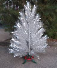 Retro MCM 5 Silver Aluminum Christmas Tree With Rotating Color Wheel Stand