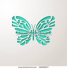Elegant Paper Cut Turquoise Lacy Butterfly Laser Wedding Invitation Or Greeting Card Design Template