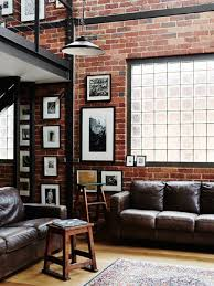 Extraordinary Industrial Living Room Rustic Furniture Ideas Brick Wall Dark Brown Leather Couch Wooden Stool Black Pendant Lamp