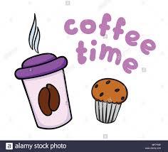 kaffeepause abbildung tasse kaffee und kuchen auf weißem
